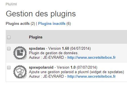 Gestion des plugins